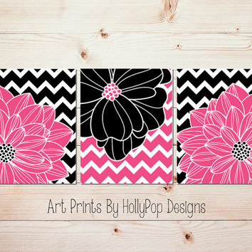 Hot Pink Black Wall Art Tween Teen Girl Bedroom Wall Art decor Modern Chevron Floral Burst Dahlia Artwork pictures bathroom wall art #1065