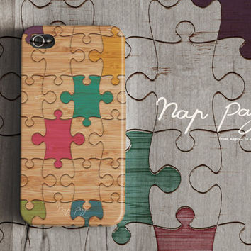 Apple iphone case for iphone iphone 5 iphone 4 iphone 4s iPhone 3Gs : wood colorful puzzle (not real wood)