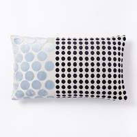 Jacquard Velvet Dot Combo Pillow Cover - Navy