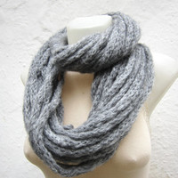 Scarf infinity  Necklace scarf   winter  Accessories Grey