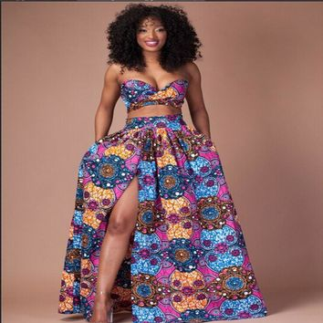 summer African dresses Women 2 Piece Sets Womens Vintage Tradition Print  African Clothing Bra Top and Maxi Long Dresses