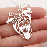 Siberian Husky Family Necklace 3D Cut Out Husky Lover Pendant