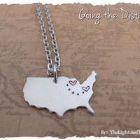 USA Map - Long Distance Relationship or Friendship Necklace