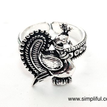 Oxidized Dancing Peacock Adjustable Finger ring