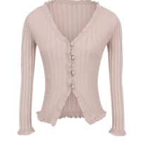 FREE SHIPPING Spring trim style wooden ear lace knit long-sleeved button-down cardigan jacket