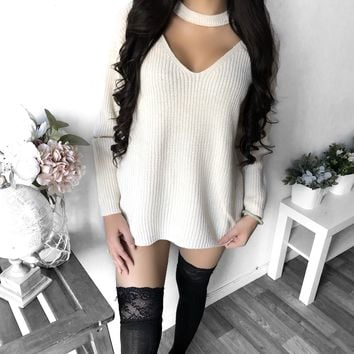 L/XL ONLY - Chloe Elbow Zipper Choker Sweater (VANILLA)