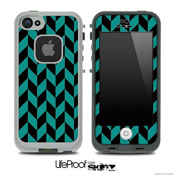 V5 Chevron Pattern Black and Green Skin for the iPhone 5 or 4/4s LifeProof Case