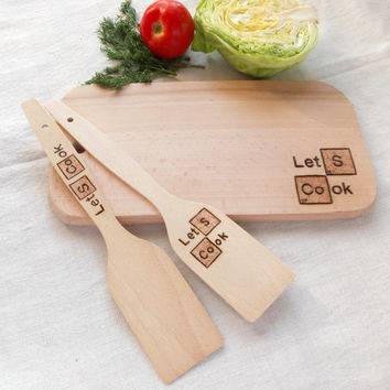 Set of 3 pieces cutting board Let's cook, spatula Lets cook, custom cutting board, chemical elements, housewarming board,Handmade pyrography