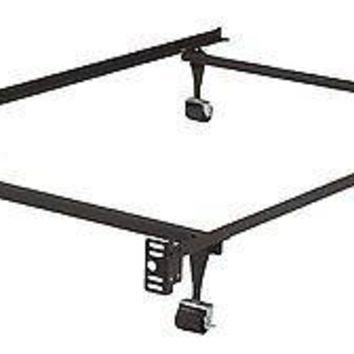 King's Brand Heavy Duty Metal Twin, Size Bed Frame - Rug Rollers & Locking Wheel