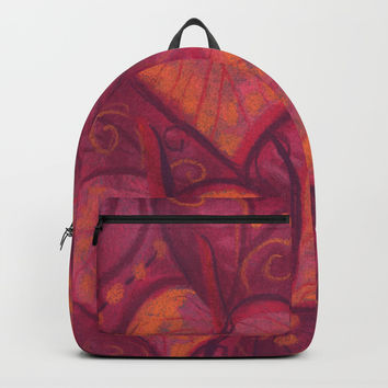Hearty Flowers, athurium, funky floral, pink, red & orange Backpack by Clipso-Callipso