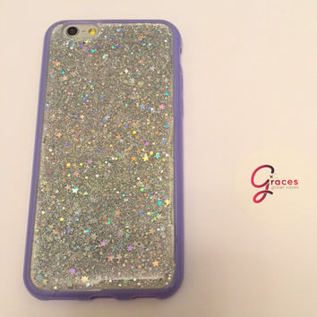 Space Dust Silver holographic stars and silver glitter  iPhone 6+, 6, 5s, 5c, 5, 4s, 4 phone case Samsung S5, S4, S3 phone case Glitter