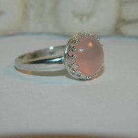 Pink Chalcedony Ring, Bezel Set Sterling Silver