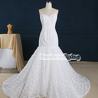 exquisite white mermaid sweetheart wedding dresses gowns,embroidery and beading wedding dress,corset back wedding dress