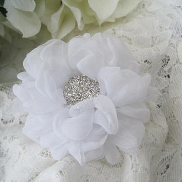 Gorgeous Petite Winter White Chiffon Bridal Flower Hair Clip Bridal Accessories Bride Bridesmaid Prom with Rhinestone Accent