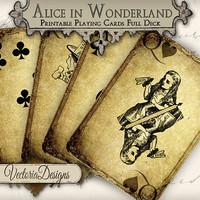 INSTANT DOWNLOAD Grunge Alice in Wonderland playing cards full deck instant download printable digital collage sheet 273
