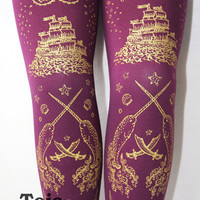 Pirate Narwhal Printed Tights Small Medium Gold on by TejaJamilla
