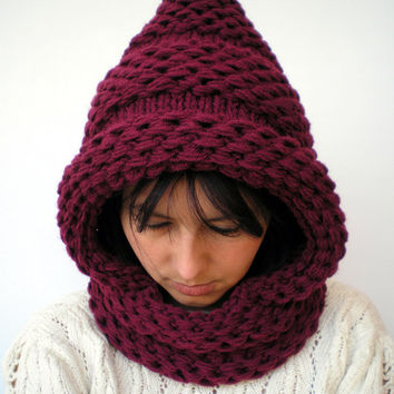 Weave Pixie Bordeaux Knit Hood Mixed   wool Woman   Hooded Cowl Chunky Hoodie