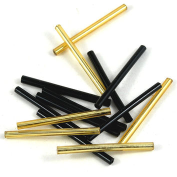 Bugle Beads Loose - Tube - Barrel - Black and Gold - 32mm - Jewellery and Craft Supplies - 25 pcs - DeeDeeSupplies