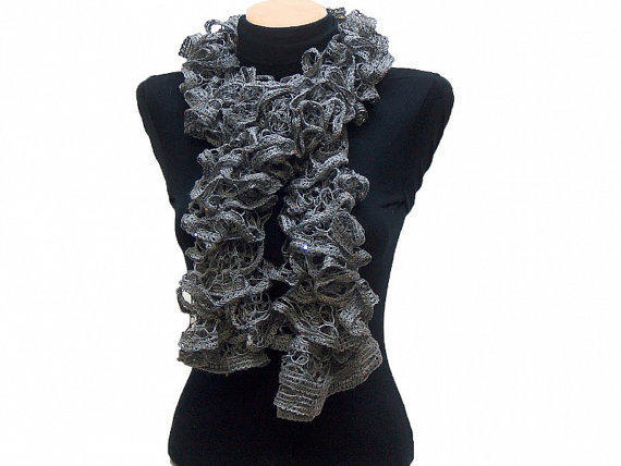 Hand knitted Gray ruffled scarf with colorful sequins by Arzus