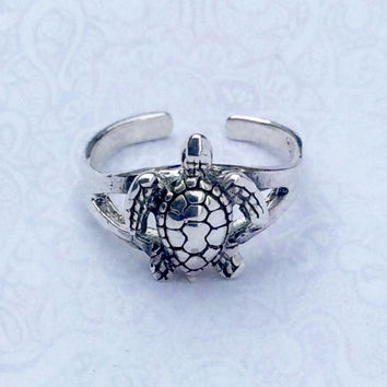 Sterling Silver Adjustable Turtle Toe Ring
