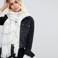 Glamorous White & Black Check Scarf at asos.com