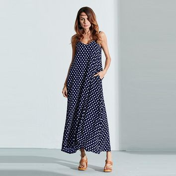 Women's Casual Floor-Length Summer Polka-Dotted Maxi Dress With Spaghetti Straps.   In Sizes Small to 6XL.   Colors: Blue, White, Black, Wine Red and Green.   Some Colors and Sizes Limited.   ***FREE SHIPPING***