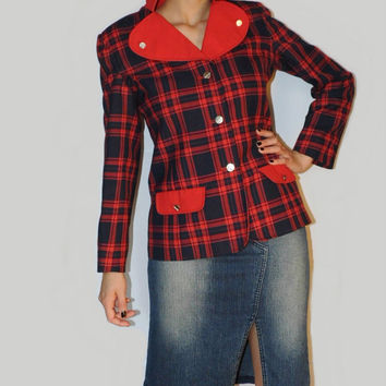 Vintage red jacket Red tartan Jacket Red Plaid jacket Vintage Jacket Red blazer
