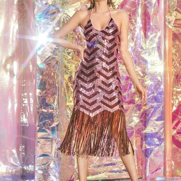 Fringe Hem Sequin Halter Fitted Dress