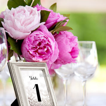 "4x6"" table numbers in silver glitter and black calligraphy font"