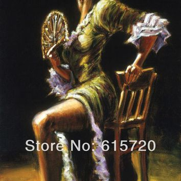 CREYL Fabian Perez Original oil painting ( Flamenco Dancer II ) Giclee Art print reproduction on canvas wall decor