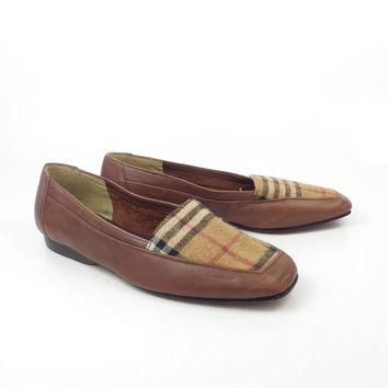 Brown Flats Shoes Vintage 1980s Enzo Angiolini Carmel Leather size 6 N