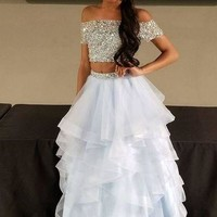 Two Piece Off Shoulder Beading White Prom Dress