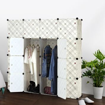 FR US UK Stock iKayaa Fashion Multi-use Clothes Closet Wardrobe Cabinet DIY Cloth Shoes Storage Organizer Furniture