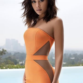 Cascadia Orange Strapless Bandage & Mesh dress