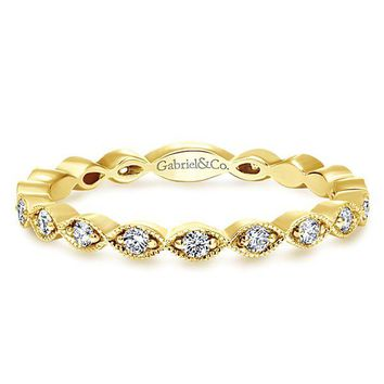 14K Yellow Gold Vintage Marquise Station Diamond Stackable Ring