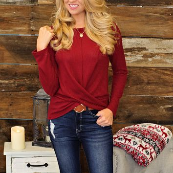 * Time For Hot Chocolate Twist Front Top: Burgundy