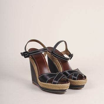 CREYU2C Black Leather Espadrille Wedge Sandals
