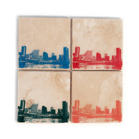 Baltimore Skyline Stone Coasters Set of 4 (Orange, Green, Blue, & Red) Baltimore Coasters Home Decor