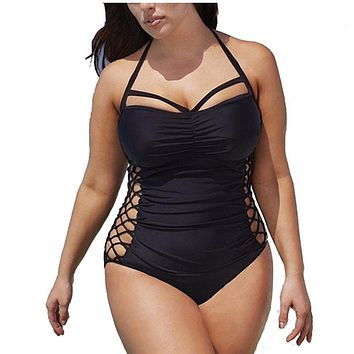 5XL Plus Size Swimwear Women One Piece 2017 Push Up Swimsuit Bandage Swimming Suit For Women Monokini Swim Suits Sexy Bathing