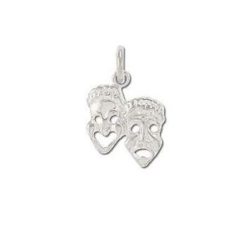 Sterling Silver Comedy & Tragedy Masks Pendant