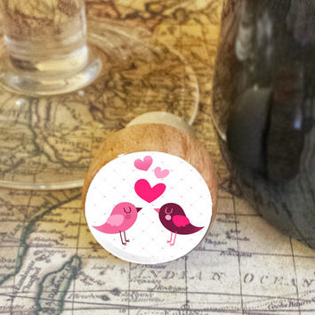 Wine Stopper, Love Birds Handmade Wood Cork, Hearts Bottle Stopper, I Love You Gift, Wood Top Cork Stopper, Valentine's Day Gift