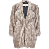 River Island Womens Silver long pile faux fur coat