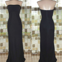 Vintage 80s 90s Cache Strapless Boned Bustier Black Cocktail Dress Long Gown Small/ XS