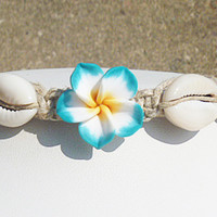 Lots o' Shells Flower Hemp Anklet girls womens handmade jewelry hippie beach