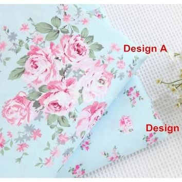 1 meter new 100% cotton twill bedding fabfric, Korean style blue floral bedding bed sheet bed sack handmade DIY cloth CR-922
