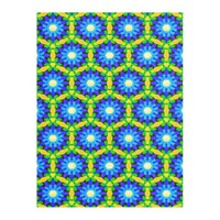 Blue & Yellow Crochet Look Flower Design Fleece Blanket