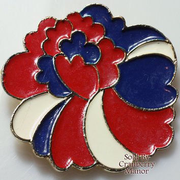Coro Brooch Pin, Red White Blue Mod Groovy Patriotic Enameled Jewellery 1960s Flower Floral Vintage Fashion, Designer Signed,Costume Jewelry