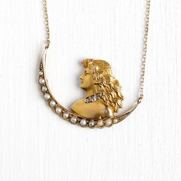 Moon Goddess Necklace - Antique 14k Rosy Yellow Gold Seed Pearl Brooch Conversion Pendant - Art Nouveau Edwardian Crescent Diamond Jewelry