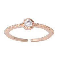 Rose Gold Over .925 Sterling Silver CZ Toe Ring