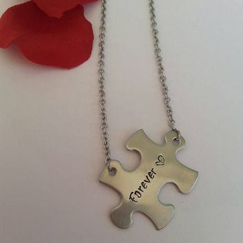 Forever puzzle piece necklace hand stamped